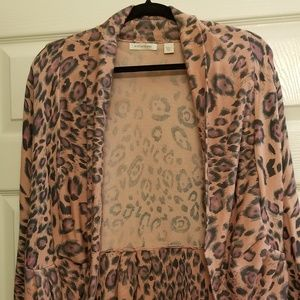 Pink Boston Proper leopard cardigan